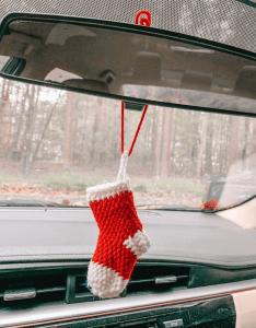 NetherlandCrafts Mini Christmas Stocking, christmas car decorations