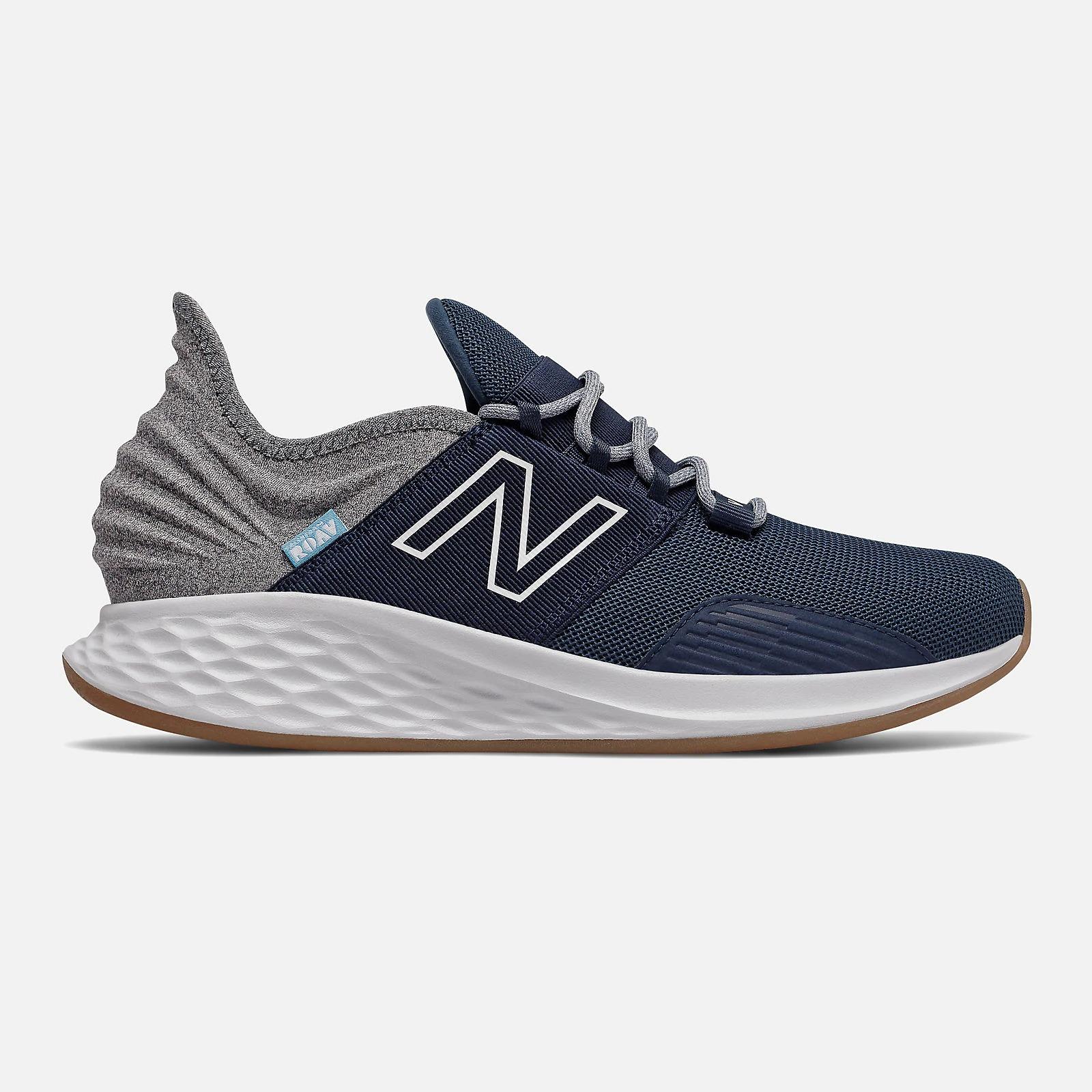 New Balance Fresh Foam Roav Tee Shirt sneaker with indigo and aluminum colors