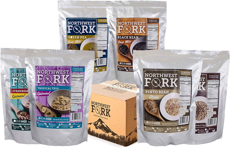 Box and six packs of NorthWest Fork Gluten-free, vegan, kosher, non-GMO emergency food supply