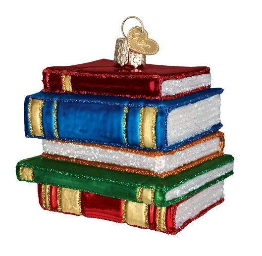Old-World-Christmas-Stack-of-Books-Ornament, best gifts for book lovers