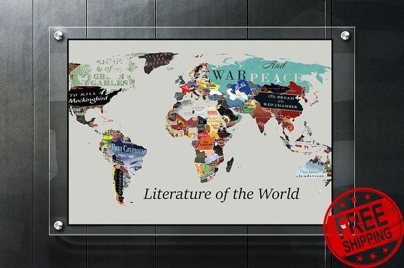 Poster-Print-Decor-World-Literature-Map-Poster
