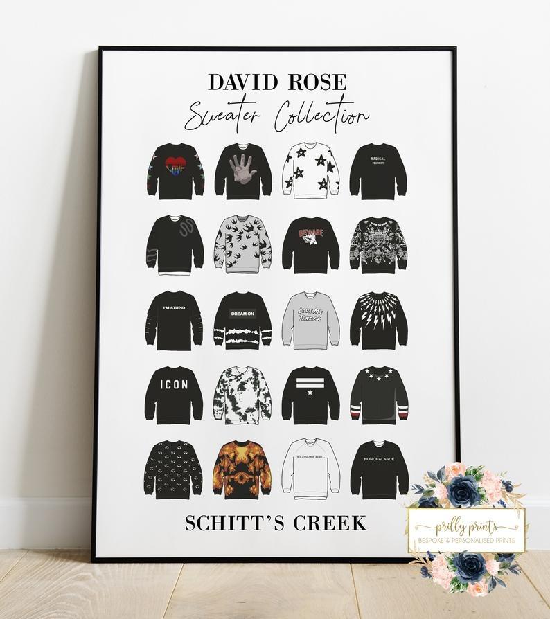 david rose sweater print, schitt's creek gift guide