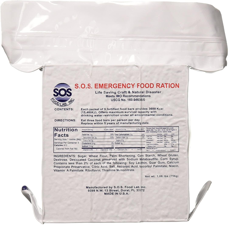 Single pack of SOS Food Labs Emergency food ration bar