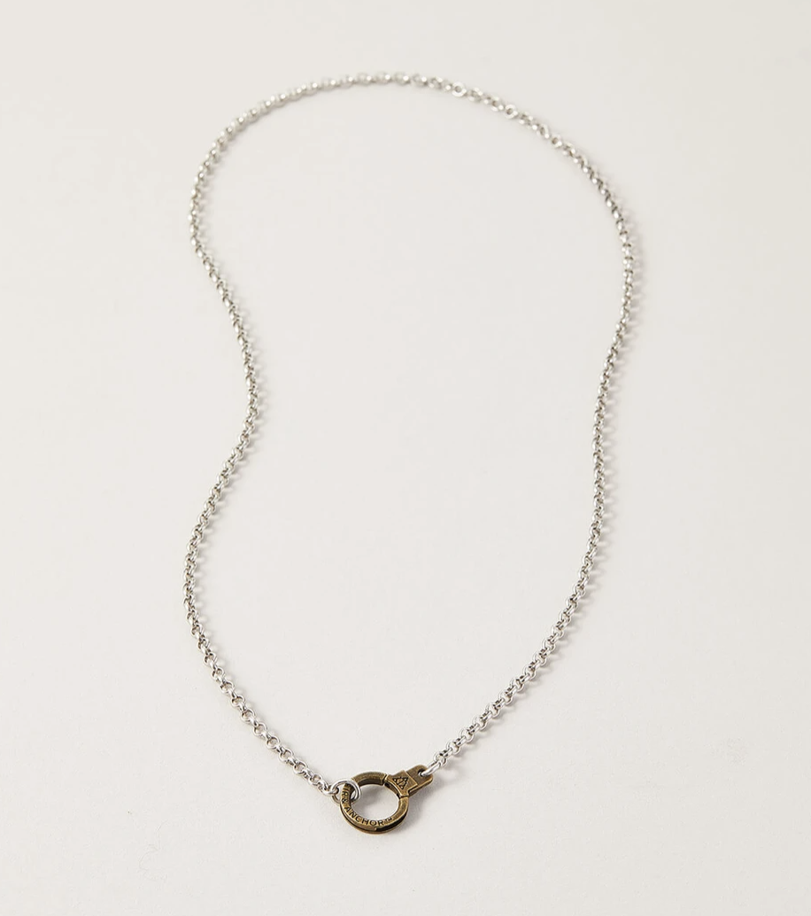 sterling silver chain necklace with bronze cuff latch