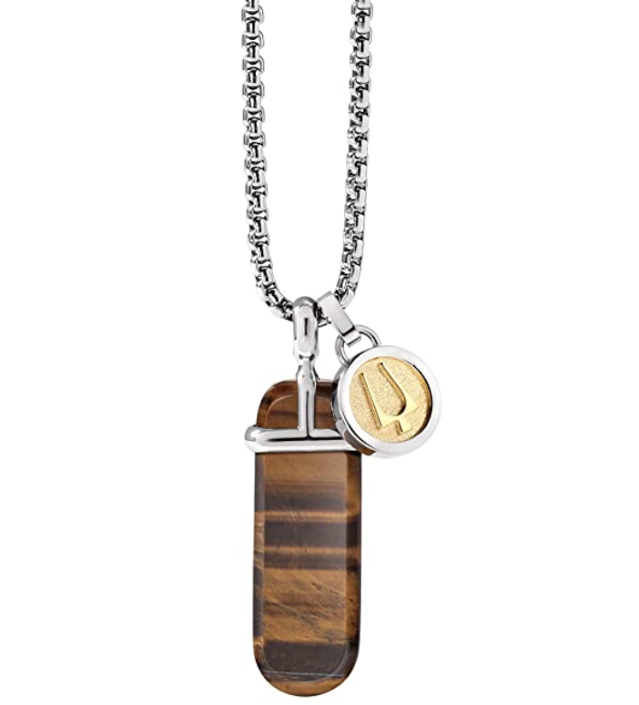 men's tiger's eye pendant necklace with silver chain