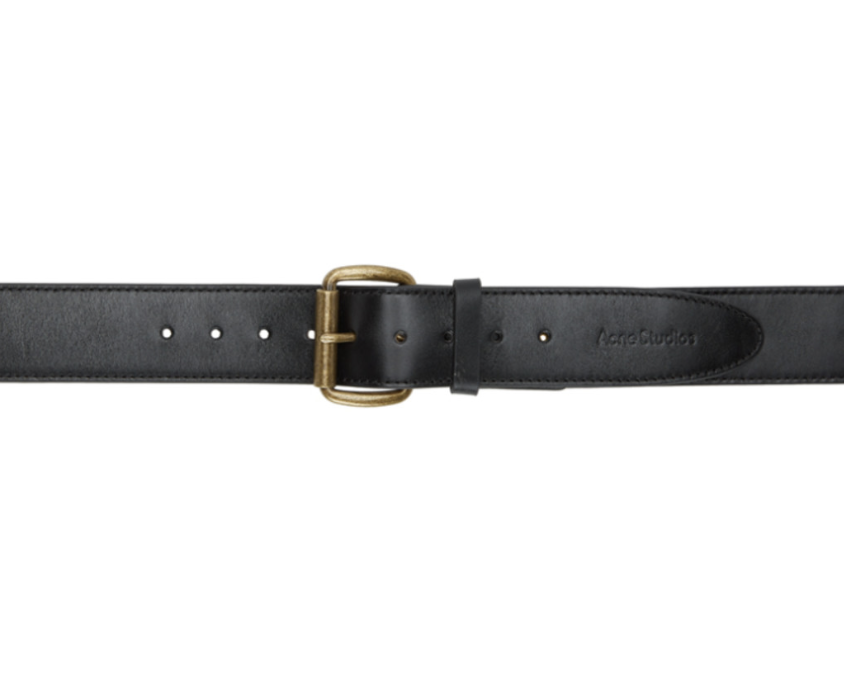 black leather belt with antiqued gold buckle