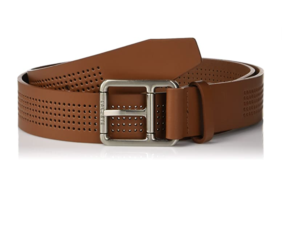 Brown perforated leather belt with silver belt buckle