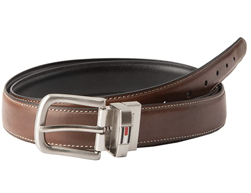Brown leather reversible belt with silver belt buckle