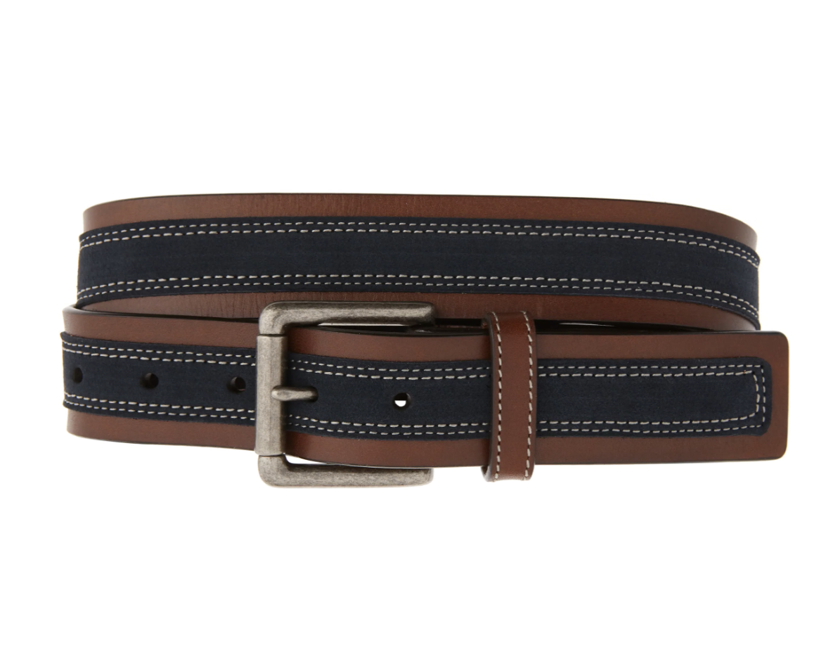 suede and leather belt for men