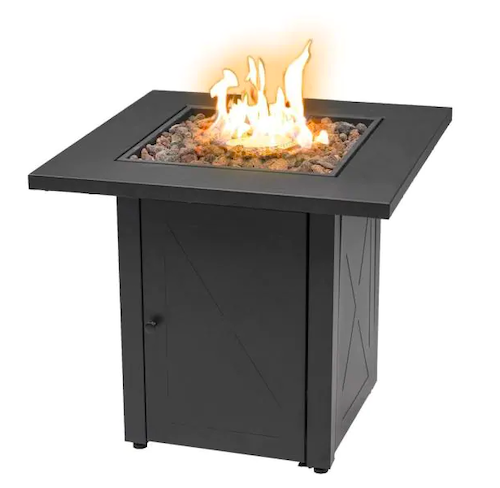 Patio Post Square Outdoor Propane Gas Fire Pit Table