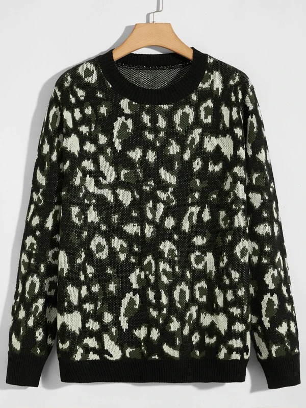 Shein-Allover-Print-Ribbed-Knit-Sweater