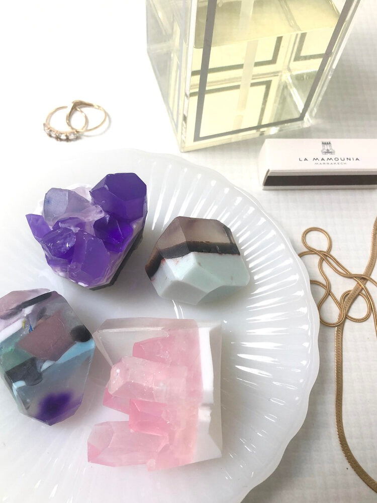 lavender sachet mini rock soap set