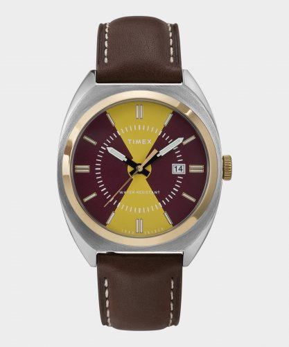 Timex x Todd Snyder Gold/Burgundy Colorblock Milano Watch