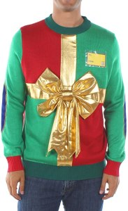 tipsy elves ugly christmas sweater present