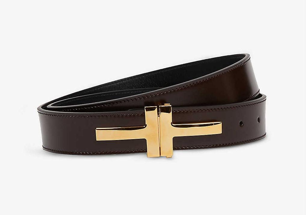 Men's Designer Belts: Tom Ford T Buckle Belt (in brown )