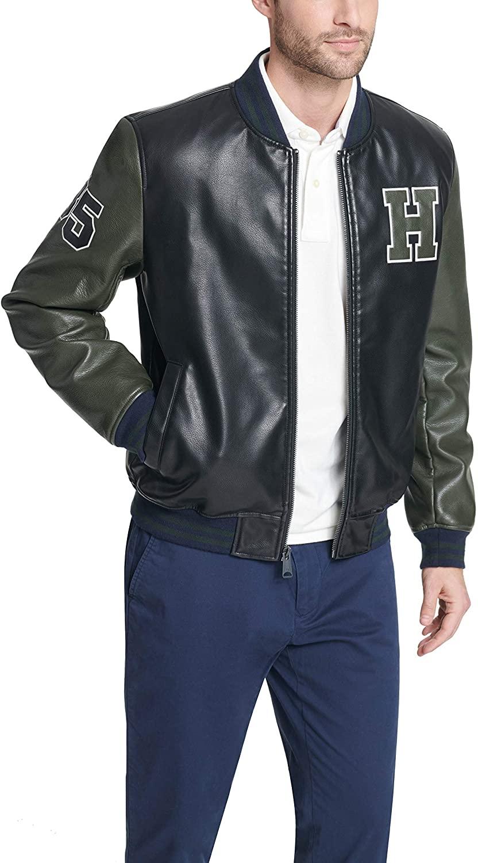 Tommy Hilfiger mens Faux-Leather Varsity Jacket - best men's leather jackets