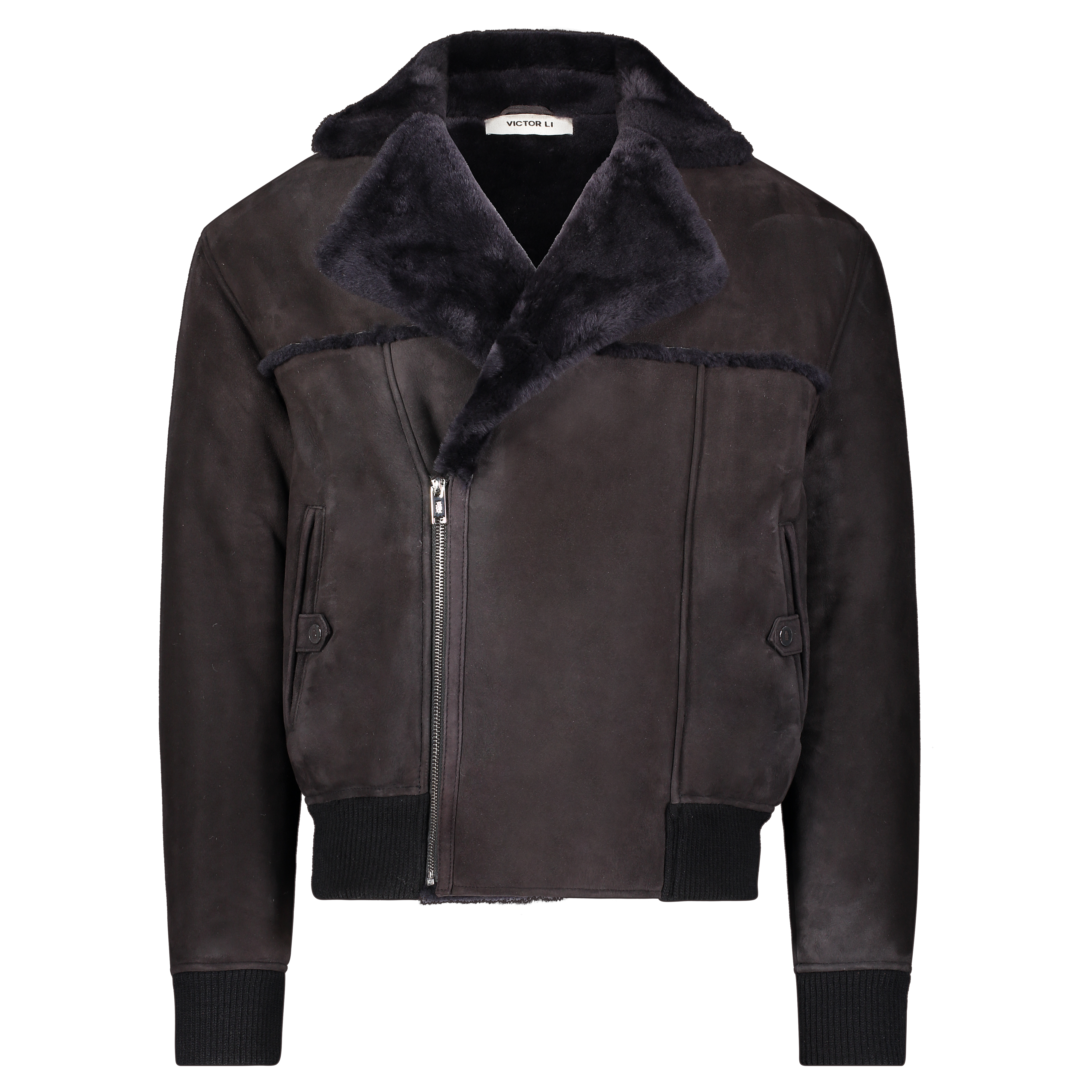 Victor Li Shearling Flight Jacket in Midnight