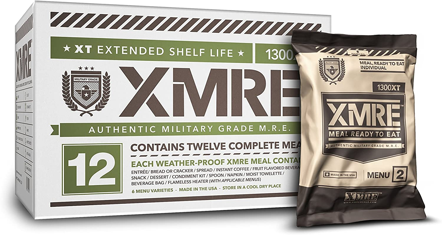 Box and single pack of XMRE Extended Shelf Life Fully Cooked MREs