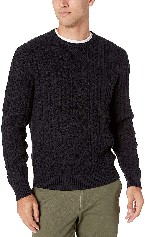 amazon essentials navy men's fisherman sweater