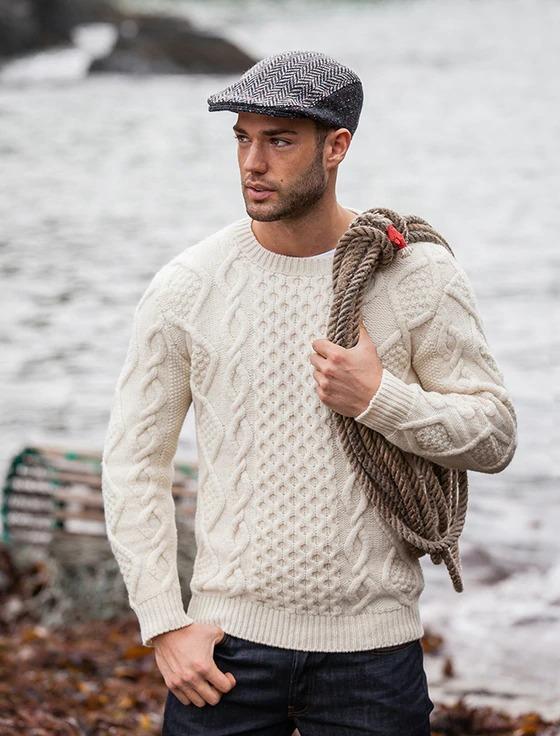 aran-sweater-market-aran-cabled-fisherman-sweater in off white