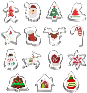 Hibery 15-Piece Christmas Cookie Cutter Set, cookie cutters