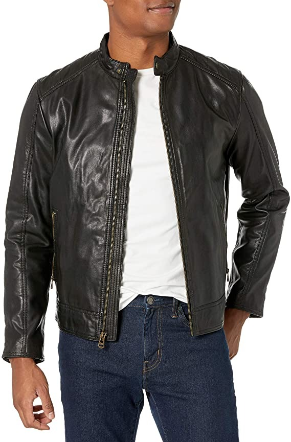 cole haan black leather moto jacekt