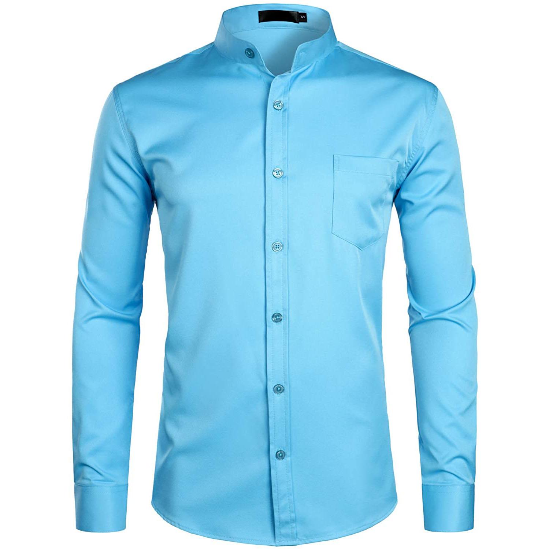 ZEROYAA Banded Collar Shirt