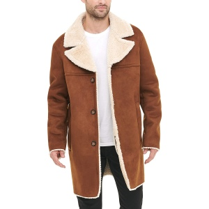 DKNY Shearling Walking Coat with Faux Fur Collar