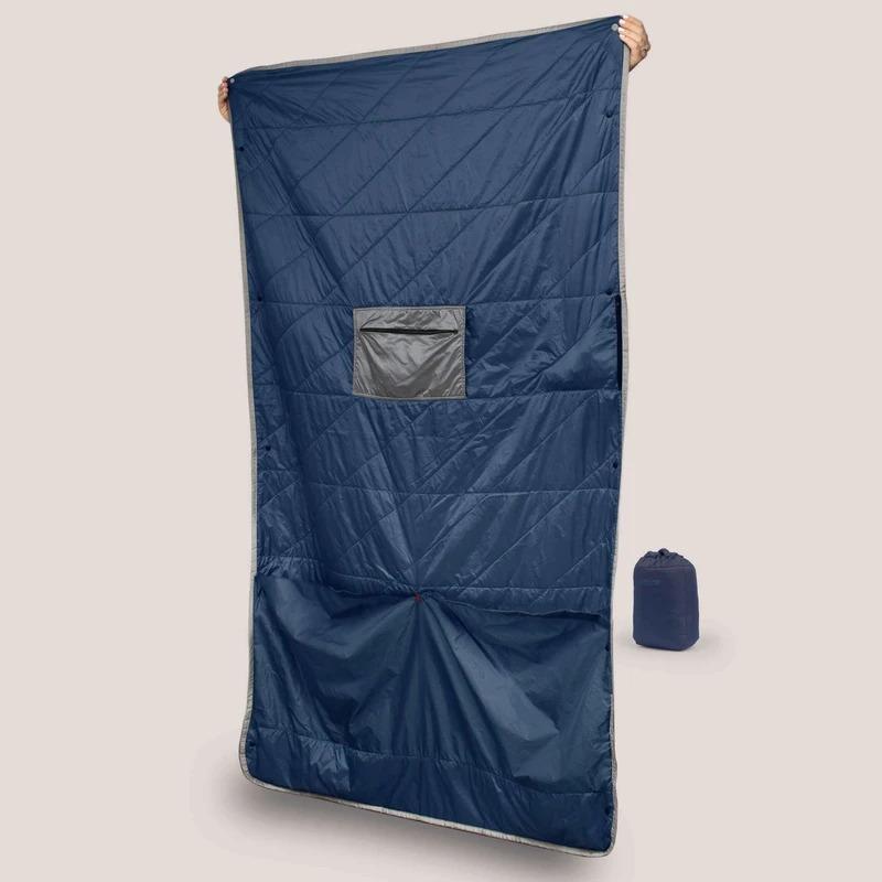 Gravel Blue Layover™ Travel Blanket