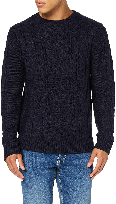 find navy acrylic wool fisherman sweater