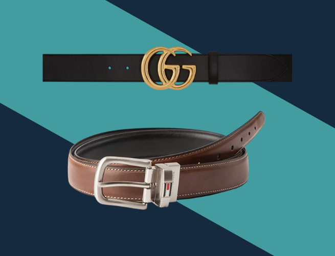 black leather Gucci belt and brown