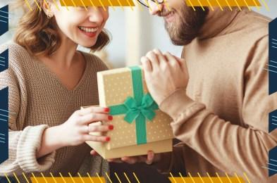 Man opening gift