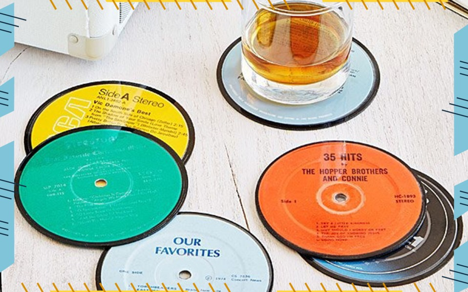 Upcycled Record Coasters -stocking stuffer ideas