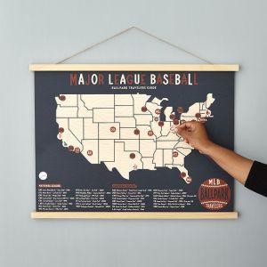 MLB Ballpark Traveler's Map, gifts for sports fans