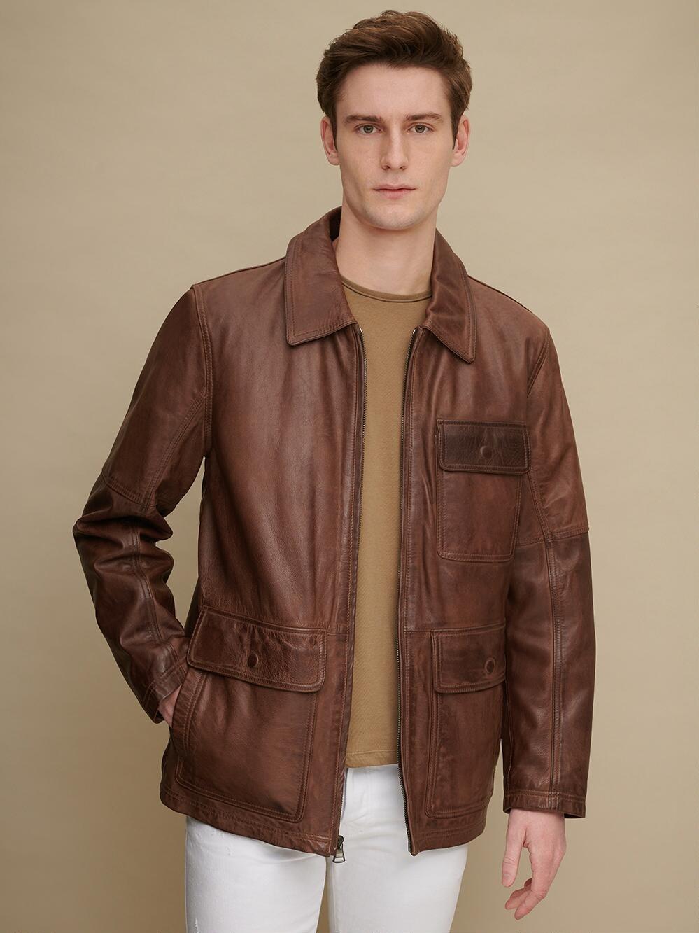 Marc New York Lott Shirt Collar Leather Jacket