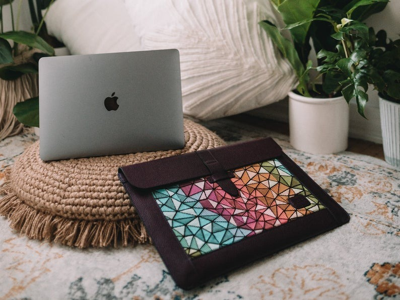 Mega Gear Custom Personalized Leather Sleeve Bag for MacBook Pro and Air