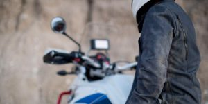 a man wearing motorcycle jacket