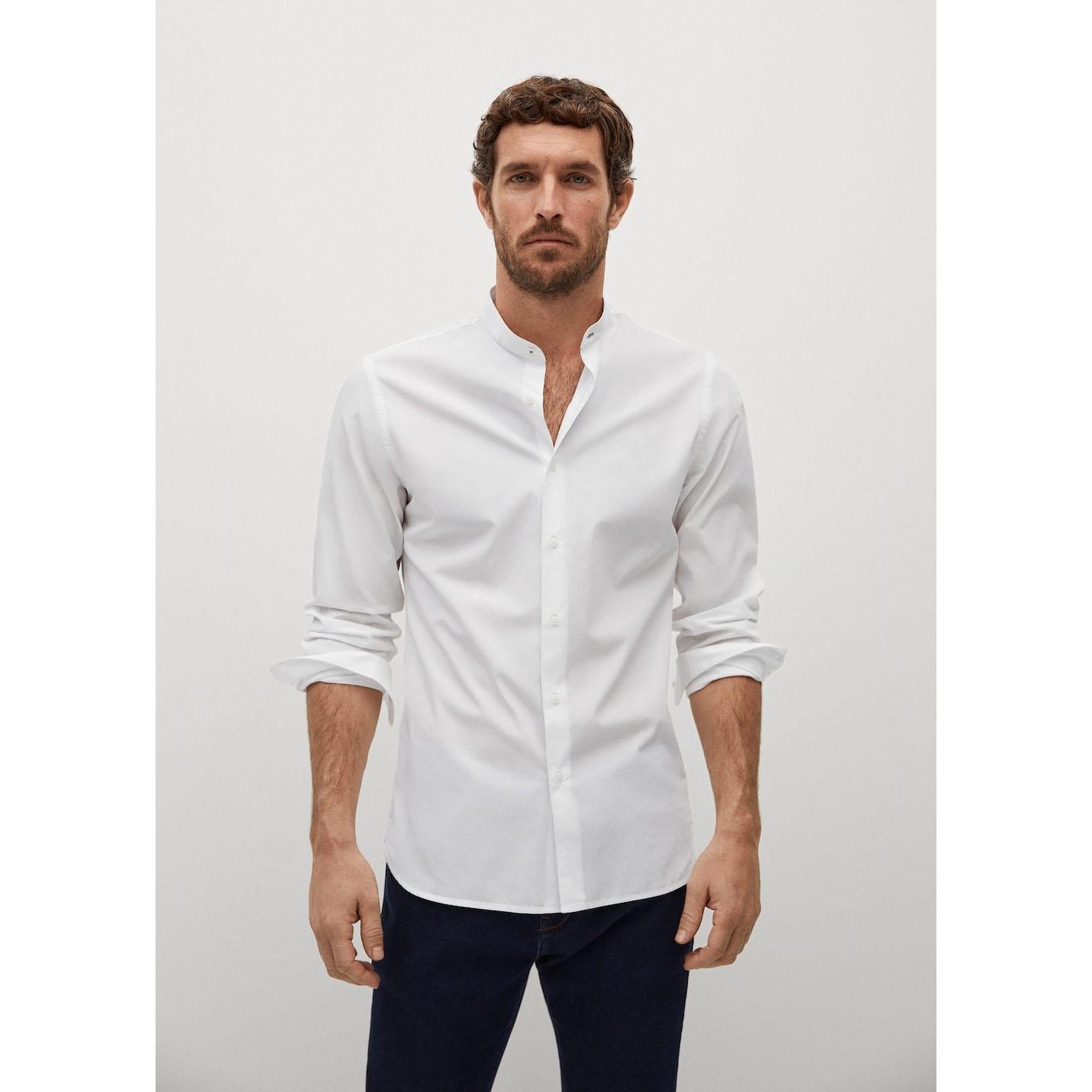 Mango Slim Fit Mao Collar Shirt