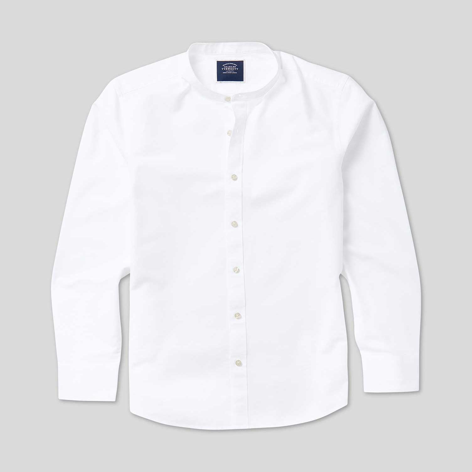 Charles Tyrwhitt Collarless Cotton Linen Shirt