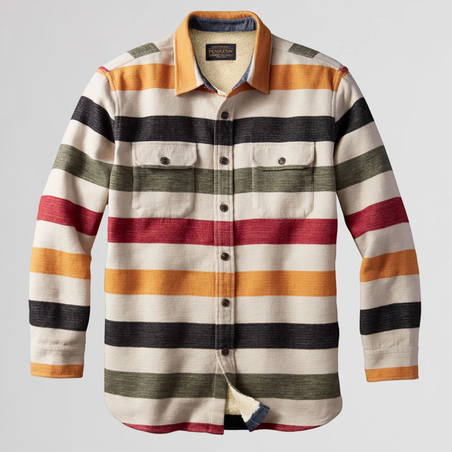 Pendleton Glacier Stripe Sherpa-Lined Shirt Jacket