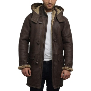 best shearling coat - Brandslock Shearling Sheepskin Leather Warm Duffle Coat