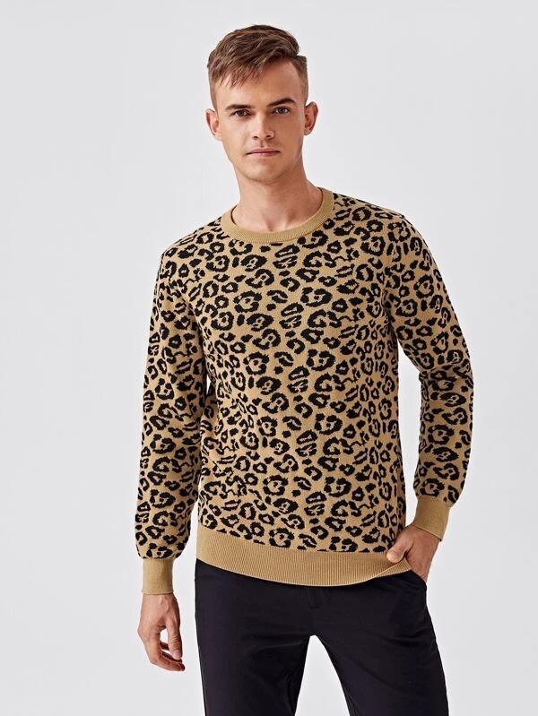 shein-men-leopard-print-round-neck-sweater