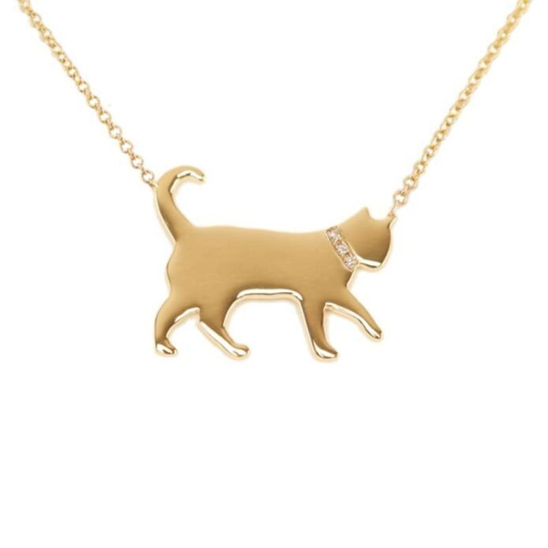 Sparkle Dogs Gold and Diamond Cat Necklace