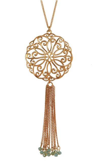 Gold filigree long necklace with fringe