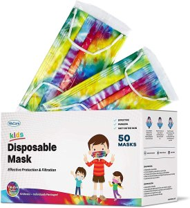 WeCare Kids Tie Dye Disposable Face Masks ( colorful tie dye patterns)