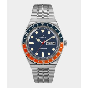 Q Timex Reissue Navy Dial with Navy/Orange Ring Bracelet Watch