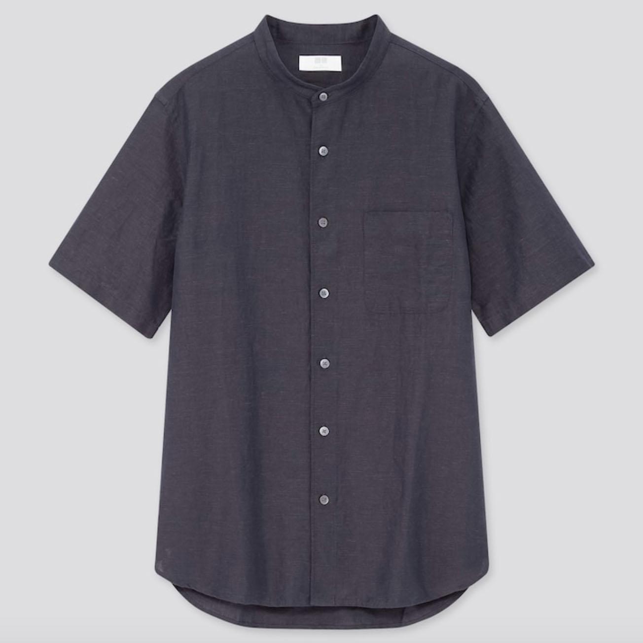 Uniqlo Men Linen Cotton Short-Sleeve Shirt