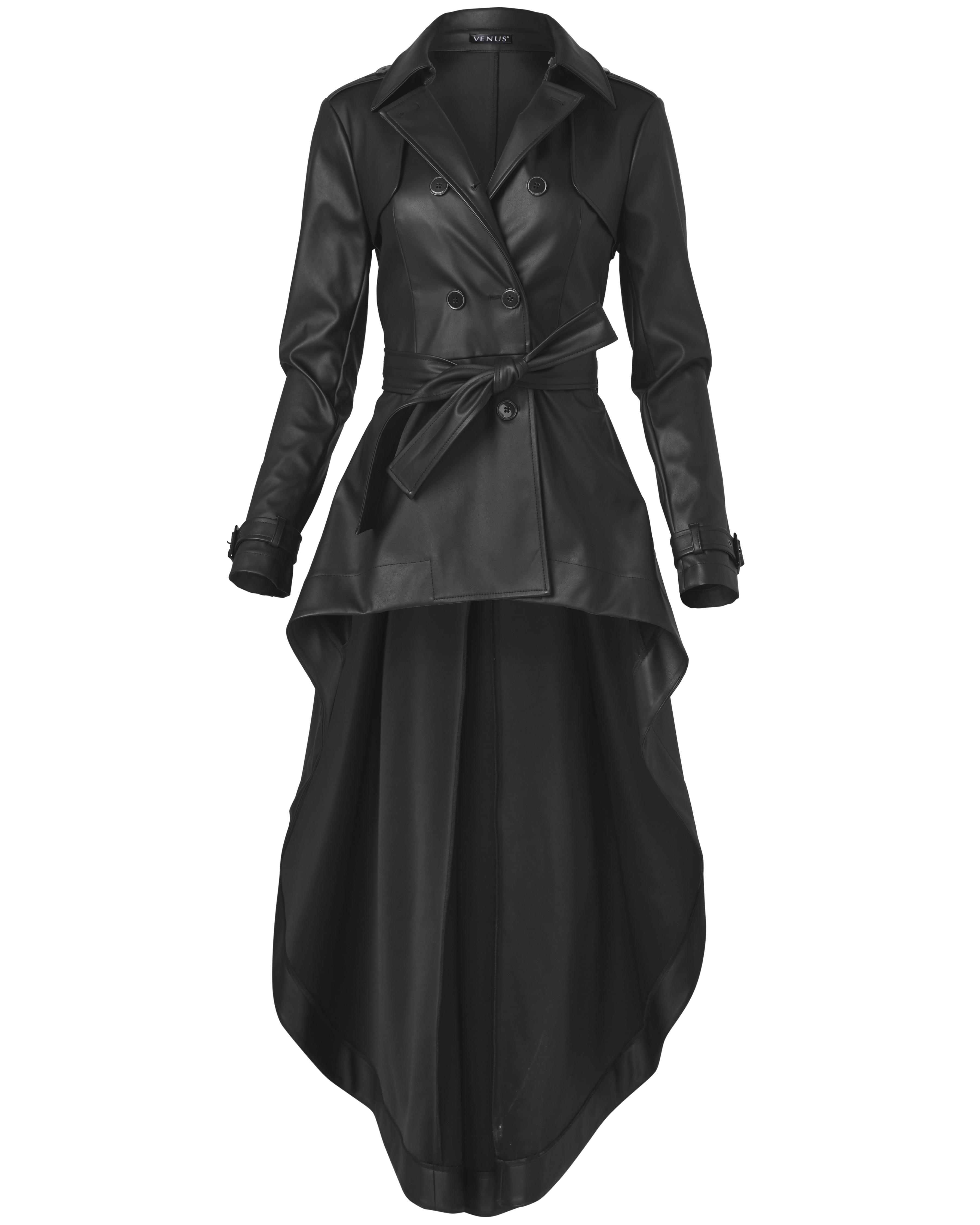 Venus blackfaux leather trench coat, schitts creek gift ideas