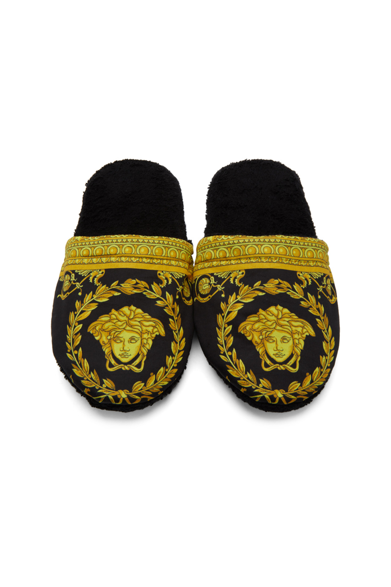 Versace men's house slippers (black Versace house slippers with gold pattern on top)