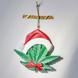 Santa Hat Leaf Christmas Ornament